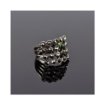 New Collection Bague métal réglable sertie de Strass couleur Anthracite 75637