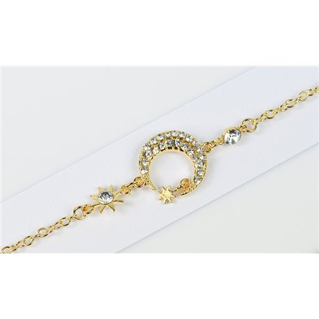 Bracelet métal Gold Color serti de Strass L19 cm Collection Alison Bijoux 76010