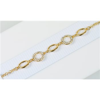 Bracelet métal Gold Color serti de Strass L19 cm Collection Alison Bijoux 76012
