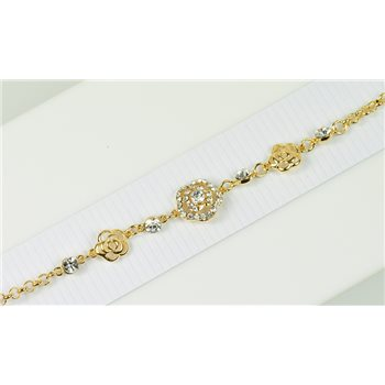 Bracelet métal Gold Color serti de Strass L19 cm Collection Alison Bijoux 76022