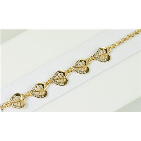 Bracelet métal Gold Color serti de Strass L19 cm Collection Alison Bijoux 76024