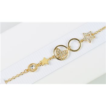 Bracelet métal Gold Color serti de Strass L19 cm Collection Alison Bijoux 76032