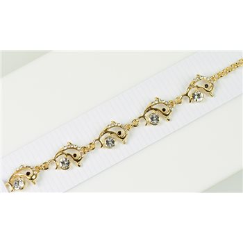 Bracelet métal Gold Color serti de Strass L19 cm Collection Alison Bijoux 76034