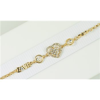 Bracelet métal Gold Color serti de Strass L19 cm Collection Alison Bijoux 76042