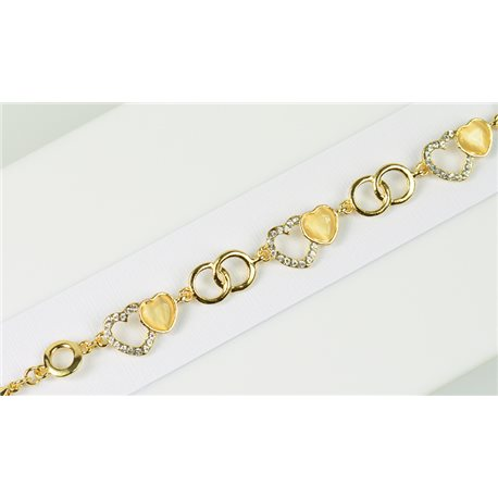 Bracelet métal Gold Color serti de Strass L19 cm Collection Alison Bijoux 76044
