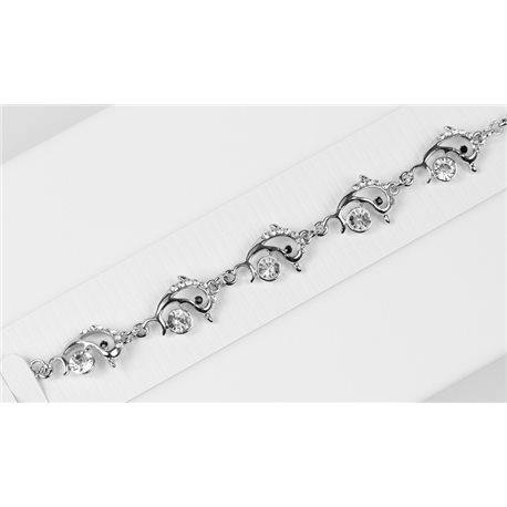 Bracelet métal Silver Color serti de Strass L19 cm Collection Alison Bijoux 76033