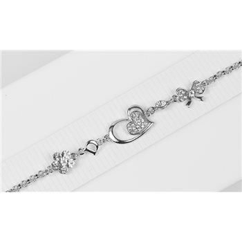 Bracelet métal Silver Color serti de Strass L19 cm Collection Alison Bijoux 76039
