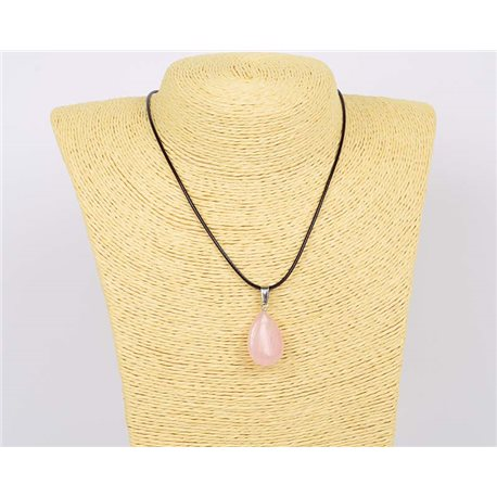 Pendentif (25mm) en Pierre naturelle Quartz Rose Collection Collier MILEVA Bijoux 75930
