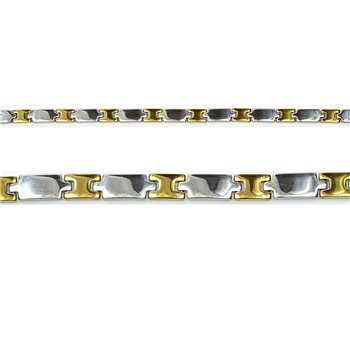 Bracelet gourmette en Acier Inoxydable New Collection Gold & Silver 8mm 20.5cm 76403
