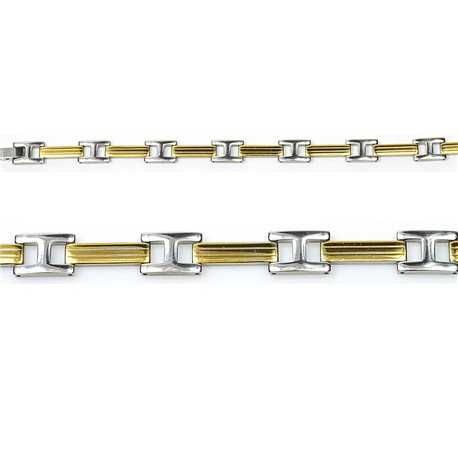 Bracelet gourmette en Acier Inoxydable New Collection Gold & Silver 10mm 21.5cm 76401