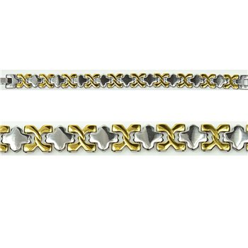Bracelet gourmette en Acier Inoxydable New Collection Gold & Silver 12mm 19.5cm 76402