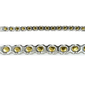 Bracelet gourmette en Acier Inoxydable New Collection Gold & Silver 12mm 20.5cm 76412