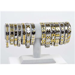 Bracelet gourmette en Acier Inoxydable New Collection Gold & Silver 12mm 22cm 76406