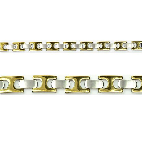 Bracelet gourmette en Acier Inoxydable New Collection Gold & Silver 13mm 21cm 76410