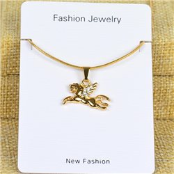 Collier Pendentif Strass Gold Color Chaine maille serpent L40-45cm 78297