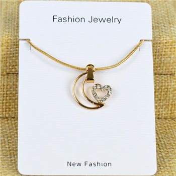 Collier Pendentif Strass Gold Color Chaine maille serpent L40-45cm 78301