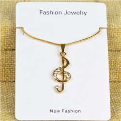 Collier Pendentif Strass Gold Color Chaine maille serpent L40-45cm 78319