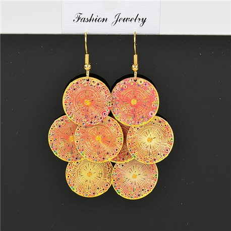 1p Boucles Oreilles Filigrane à crochet doré New Collection Ethnique 78366