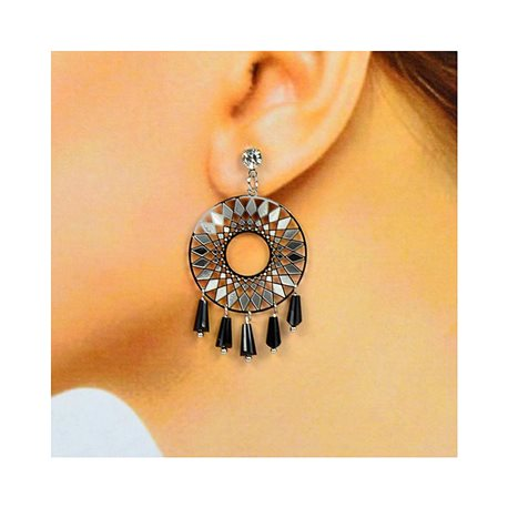 1p Boucles Oreilles Filigrane à clou Zircon et Pampilles New Collection 78374