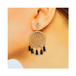 1p Boucles Oreilles Filigrane à clou Zircon et Pampilles New Collection 78376