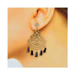 1p Boucles Oreilles Filigrane à clou Zircon et Pampilles New Collection 78377
