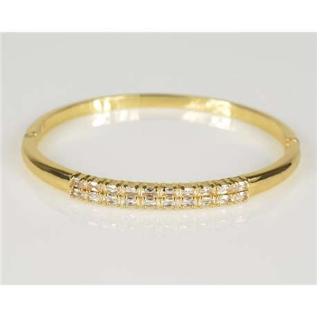 Bracelet Jonc à clip métal couleur Or Jaune Zircon coupe diamant D60mm Collection Chic 78441