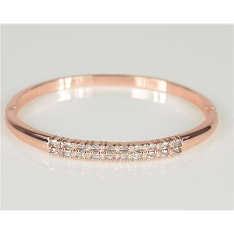 Bracelet Jonc à clip métal couleur Or Rose Zircon coupe diamant D60mm Collection Chic 78448