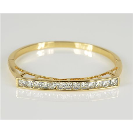 Bracelet Jonc à clip métal couleur Or Jaune Zircon coupe diamant D60mm Collection Chic 78450