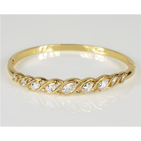 Bracelet Jonc à clip métal couleur Or Jaune Zircon coupe diamant D60mm Collection Chic 78459