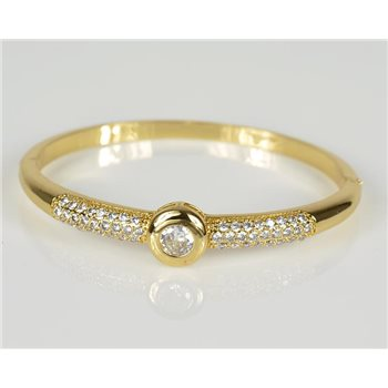 Bracelet Jonc à clip métal couleur Or Jaune Zircon coupe diamant D60mm Collection Chic 78462