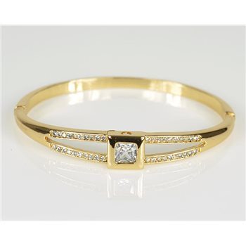 Bracelet Jonc à clip métal couleur Or Jaune Zircon coupe diamant D60mm Collection Chic 78468