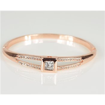 Bracelet Jonc à clip métal couleur Or Rose Zircon coupe diamant D60mm Collection Chic 78469
