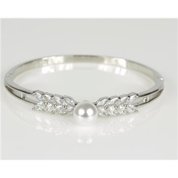 Bracelet Jonc à clip métal couleur Or Blanc Zircon coupe diamant D60mm Collection Chic 78473
