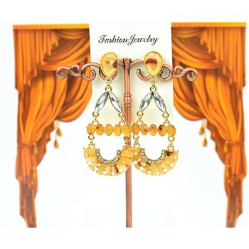 1p Boucles Oreilles à clou sertie de Strass Collection LEILA 7cm 75221