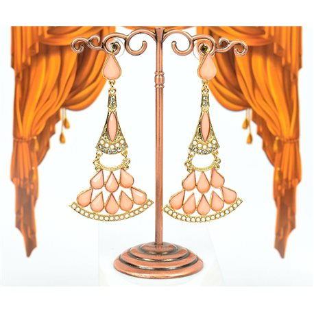 1p Boucles Oreilles à clou sertie de Strass Collection LEILA 8cm 75211