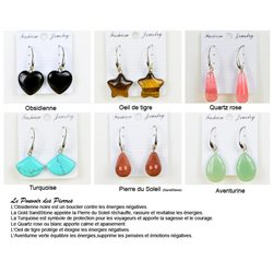 1p Boucles Oreilles 20mm en Pierre naturelle Obsidienne Collection MILEVA 75971