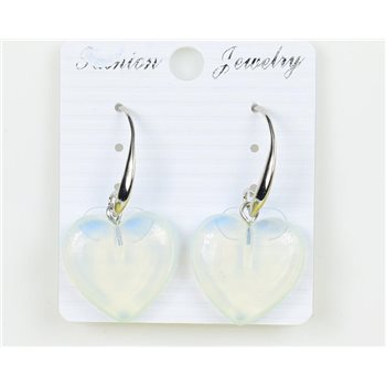 1p Boucles Oreilles 20mm en Pierre naturelle Quartz Blanc Collection MILEVA 75948