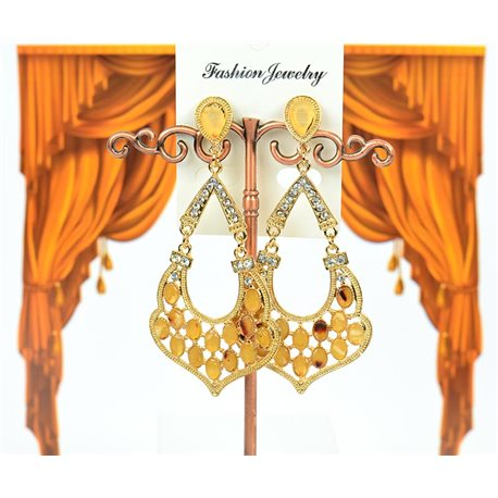 1p Boucles Oreilles à clou sertie de Strass Collection LEILA 8cm 75219