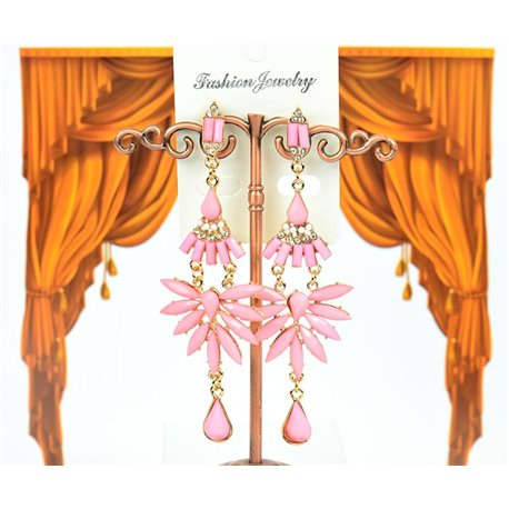1p Boucles Oreilles à clou sertie de Strass Collection LEILA 8cm 75227